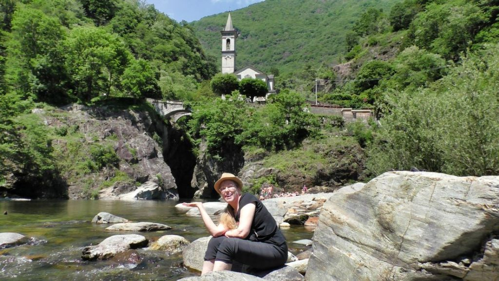 View of church from bottom of waterfall, Santa Anna gorge, Cannobio, Italy